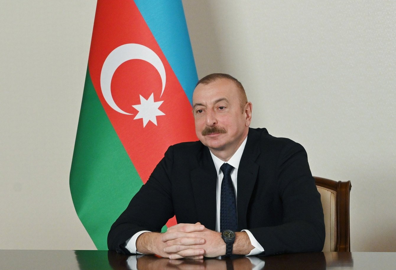 Azerbaijani President Ilham Aliyev attends a videoconference in the capital Baku, Azerbaijan, Jan. 27, 2021. (Azerbaijani Presidency via AA)