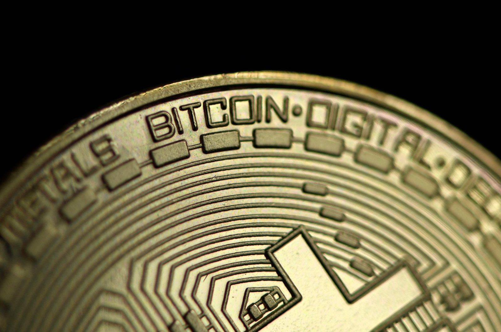 A physical imitation of a Bitcoin is pictured in Dortmund, western Germany, Jan. 26, 2020. (AFP Photo)