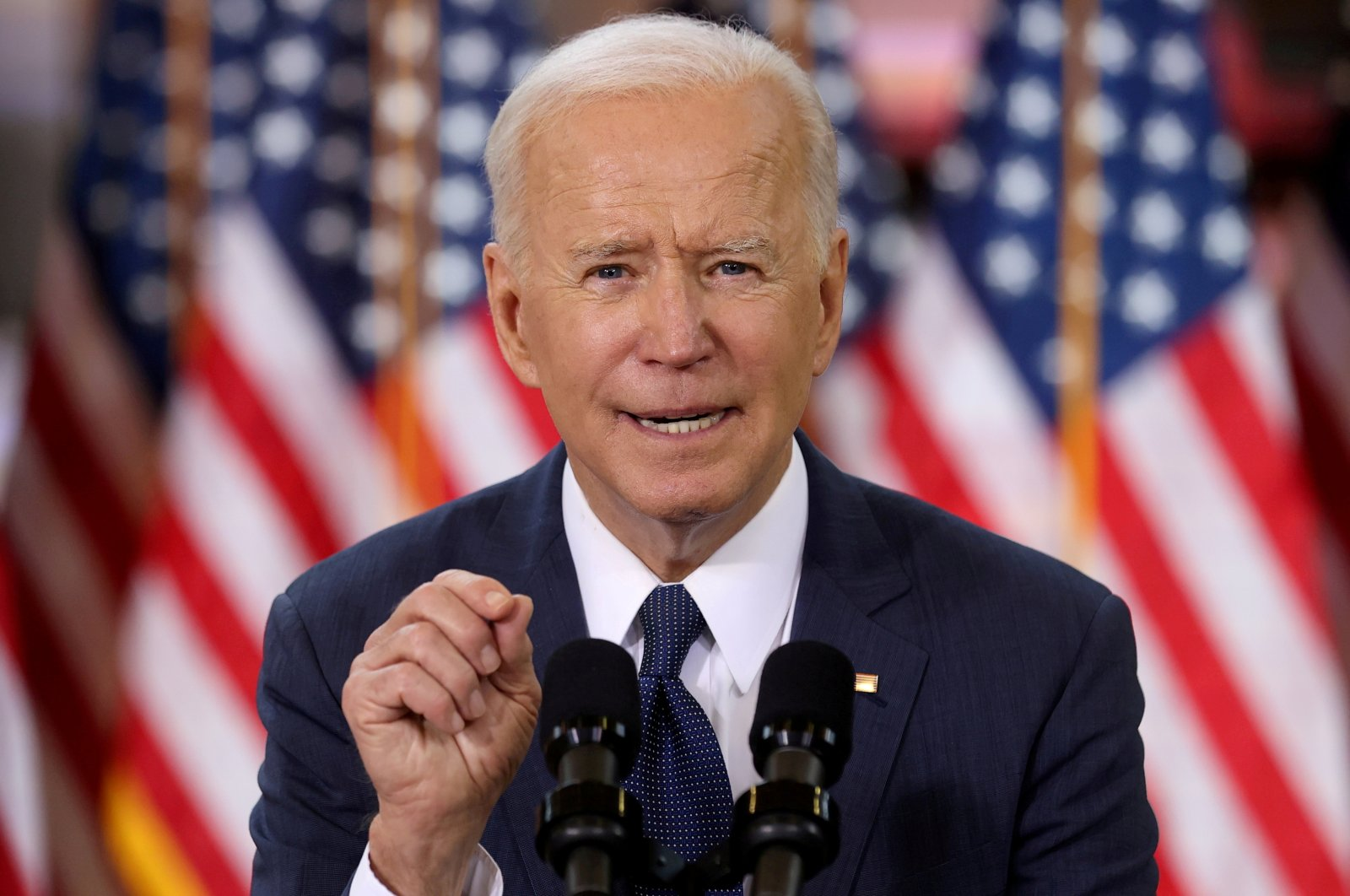 U.S. President Joe Biden speaks about his $2 trillion infrastructure plan during an event to tout the plan at Carpenters Pittsburgh Training Center in Pittsburgh, Pennsylvania, U.S., March 31, 2021. (Reuters Photo)