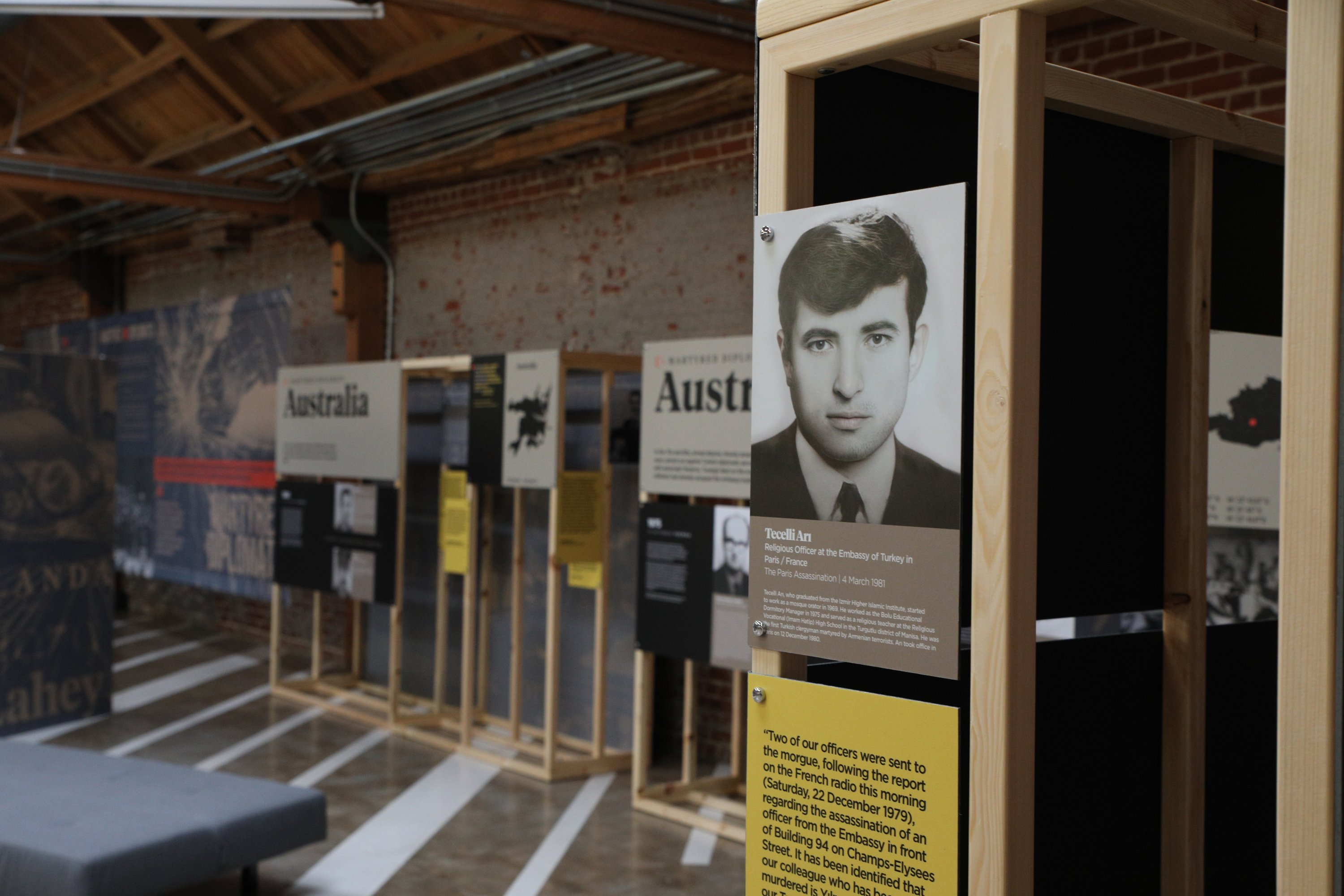 Turkey'sDirectorate of Communications opens an exhibition in memory of Turkish diplomats killed by Armenian terrorists, in Los Angeles, U.S., April 24, 2021. (AA)