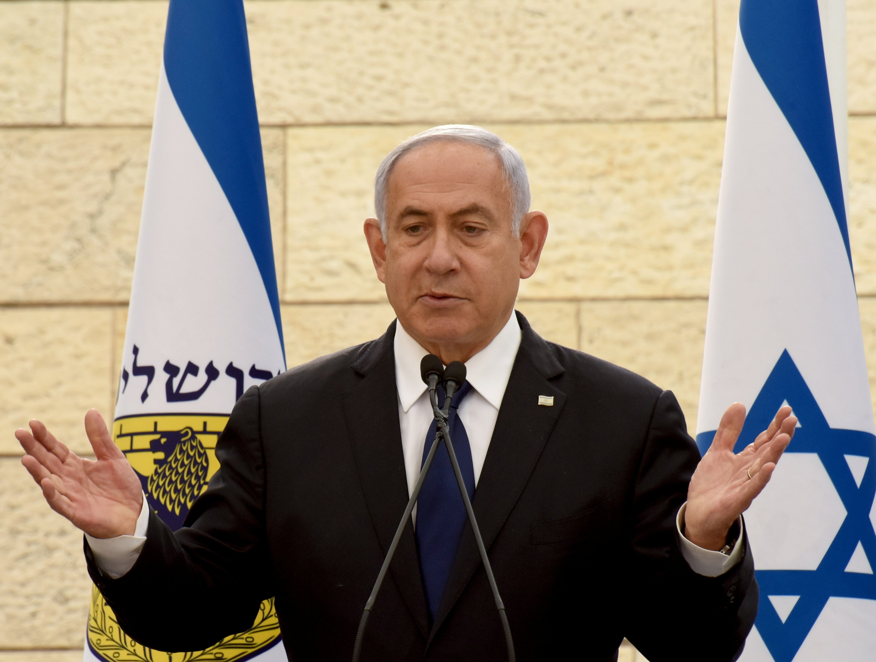 Israeli Prime Minister Benjamin Netanyahu speaks at a ceremony for fallen soldiers of Israel's wars at the Yad Lebanim House on the eve of Memorial Day, in Jerusalem, Israel, April 13, 2021. (REUTERS)