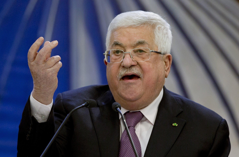 Palestinian President Mahmoud Abbas speaks after a meeting of the Palestinian leadership in Ramallah, West Bank, Palestine, Jan. 22, 2020. (AP)