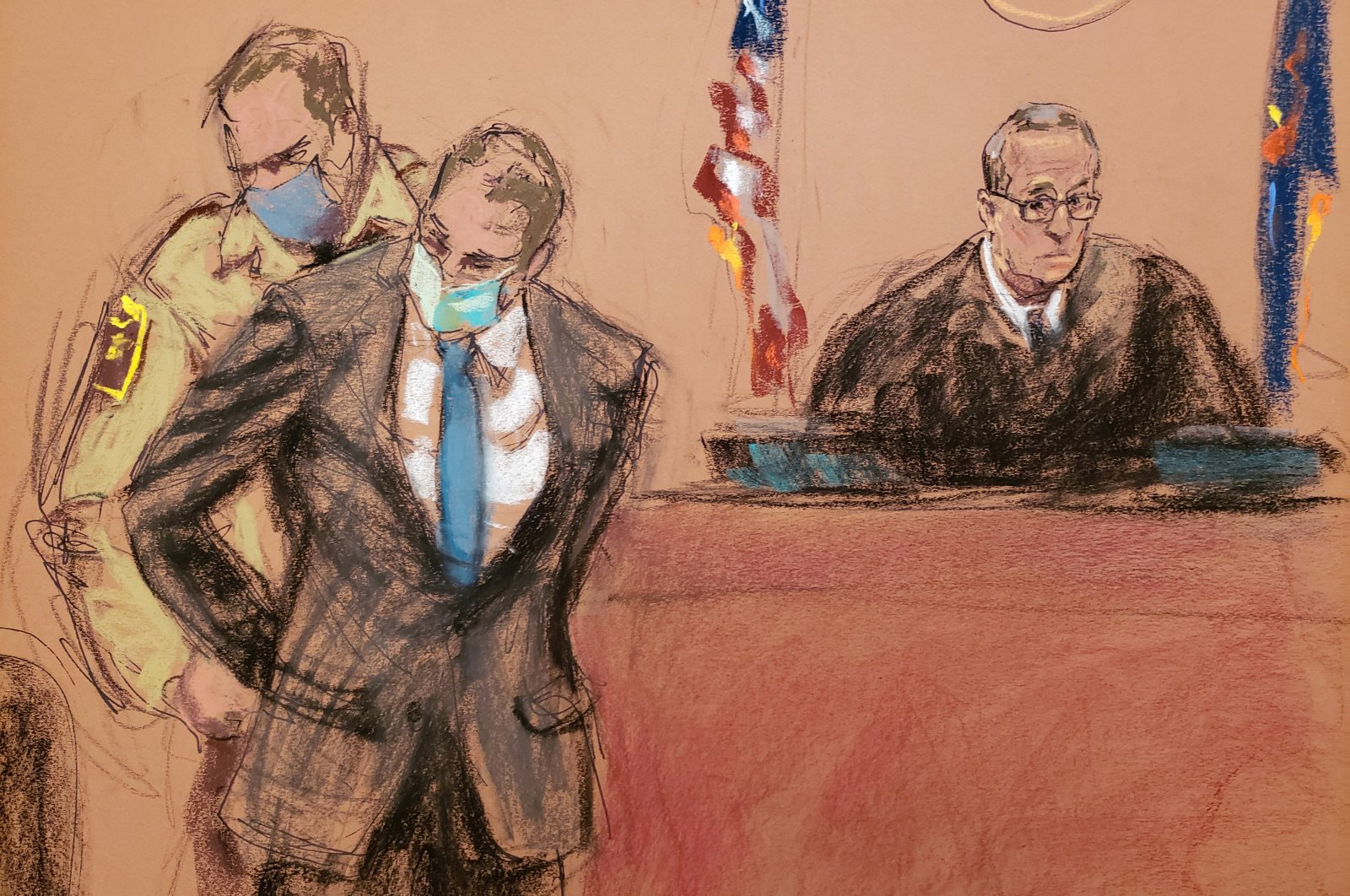 This court sketch shows former Minneapolis Police Officer Derek Chauvin being placed in handcuffs after a jury found him guilty on all counts in his trial for the death of George Floyd, Minneapolis, Minnesota, U.S., April 20, 2021. (Reuters Photo)