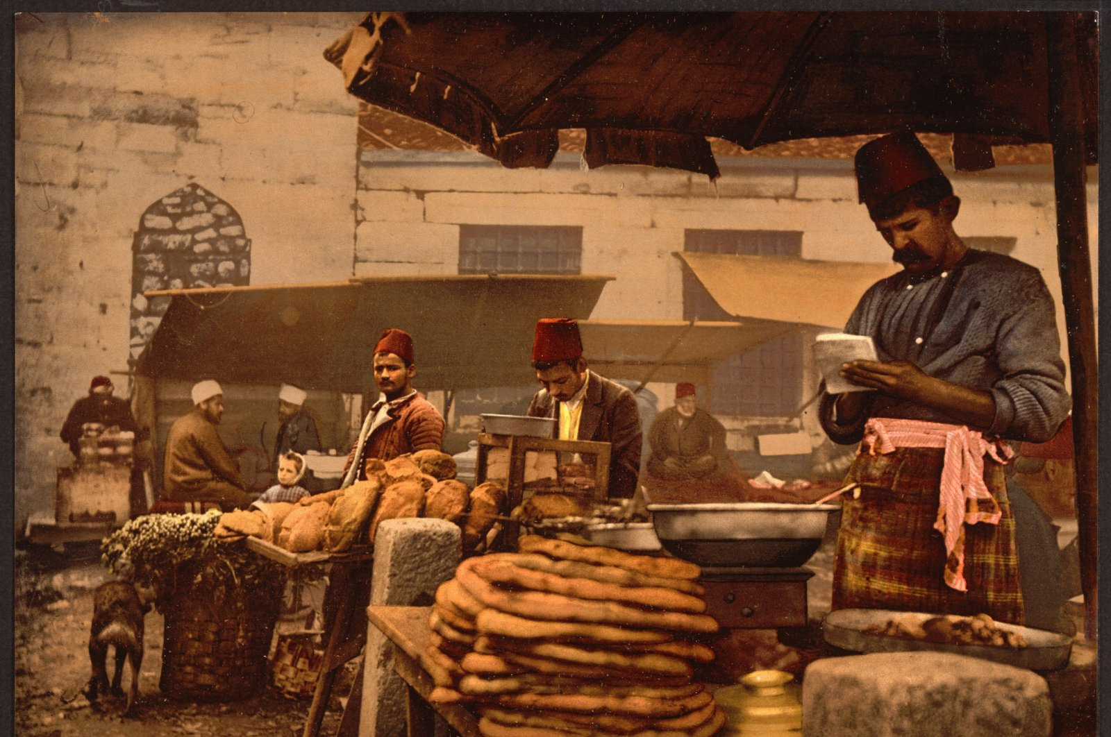 """""""Cook in the rue de Stamboul"""", a painting depicting the streets of Istanbul, circa 1890-1900, Istanbul, retrieved from the Library of Congress. (via WIKIMEDIA COMMONS)"""