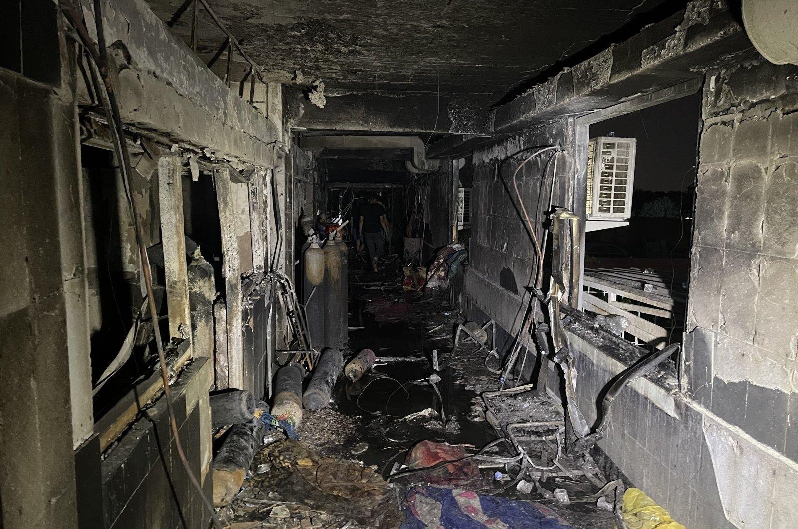The aftermath of a fire at Ibn al-Khatib Hospital, south of Baghdad, Iraq, April 25, 2021. (EPA Photo)