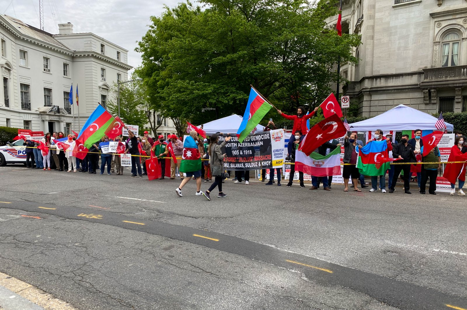 Turks in Washington protest U.S. President Joe Biden's decision to recognize 1915 events as genocide, Washington, U.S., April 24, 2021. (AA)