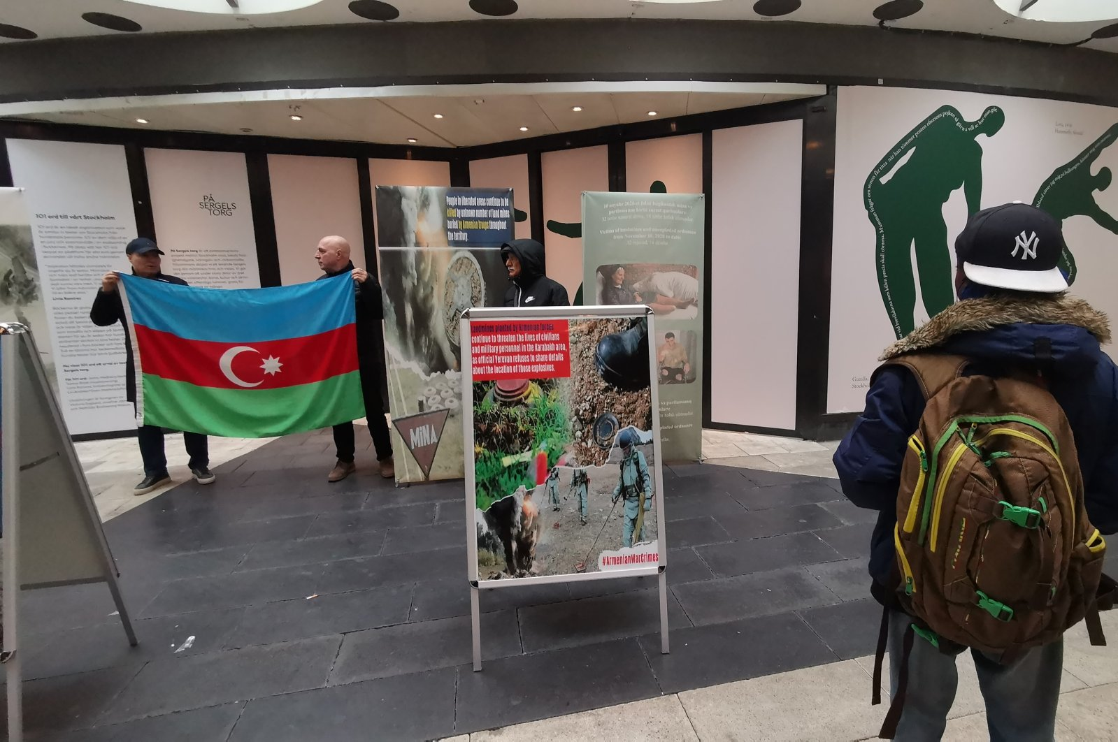 A photo exhibition on the atrocities committed by Armenia during its decadeslong occupation of Nagorno-Karabakh organized in Stockholm, Sweden on April 24, 2021. (AA)