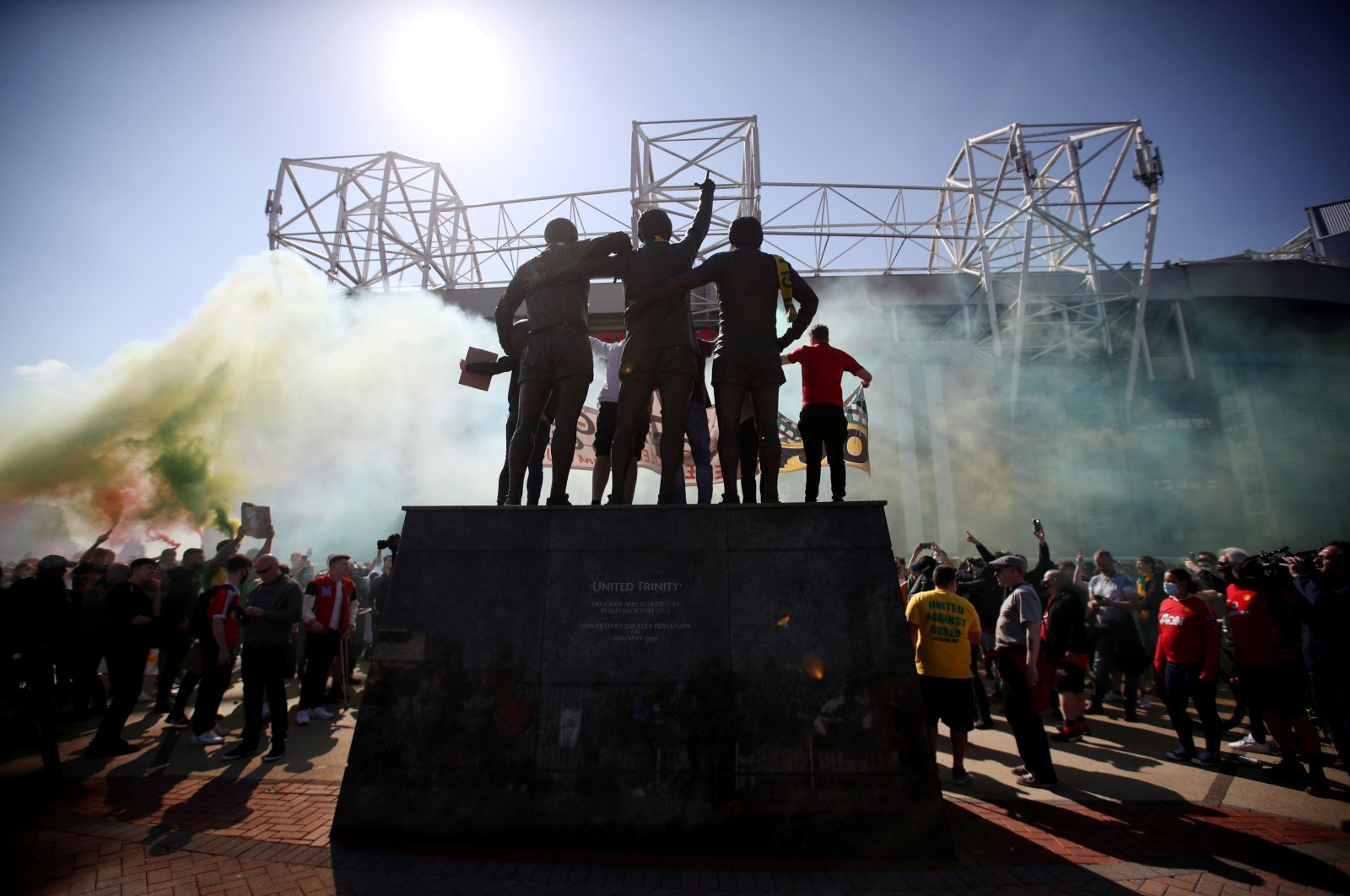 Manchester United fans protest against owners after the failed launch of a European Super League, Old Trafford, Manchester, Britain, April 24, 2021.