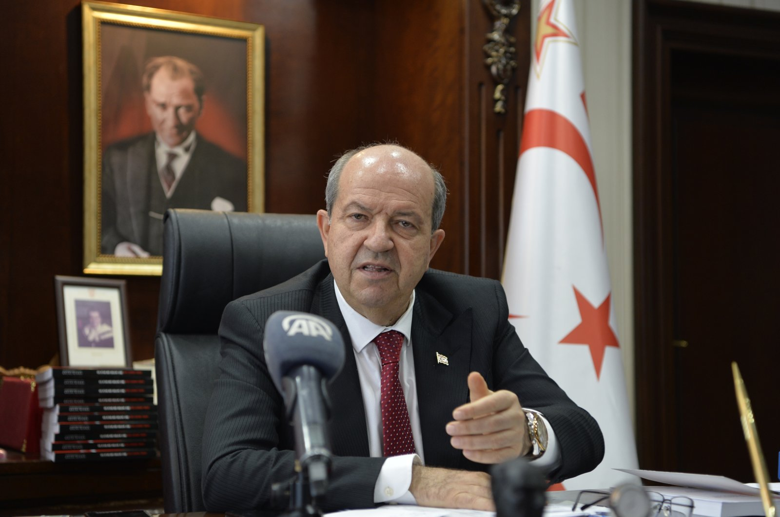 Turkish Republic of Northern Cyprus (TRNC) President Ersin Tatar speaks during an interview with Anadolu Agency, in Nicosia, TRNC, April 25, 2021. (AA)