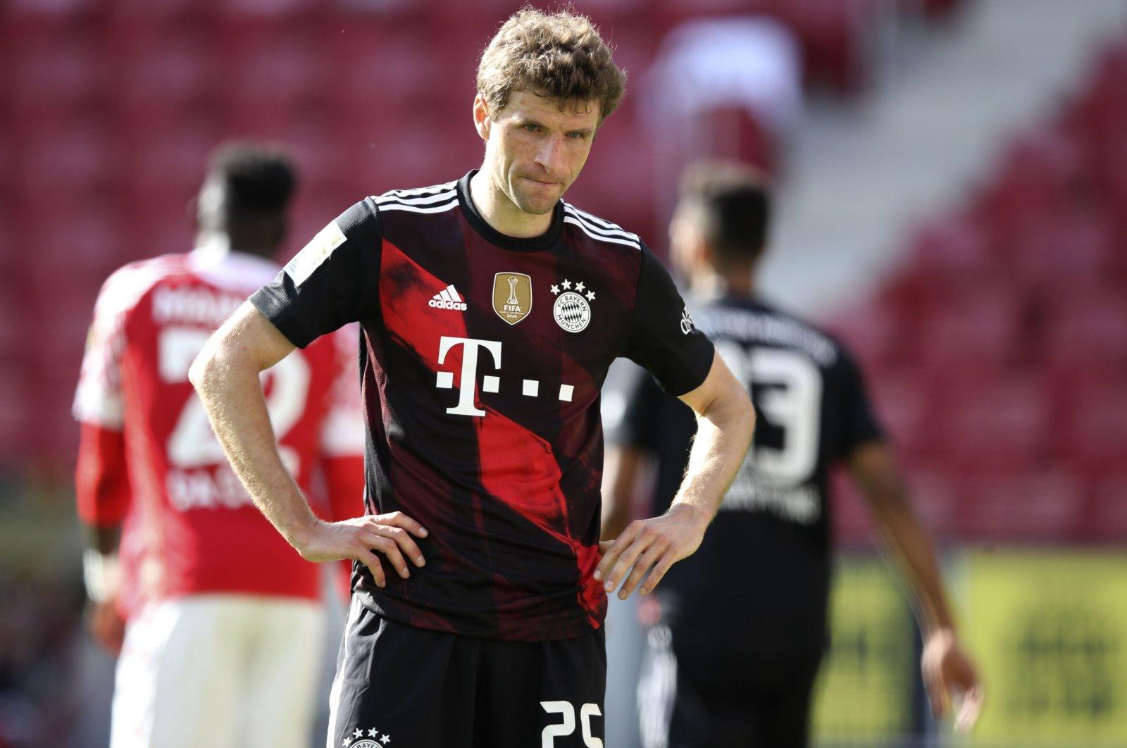 Bayern's Thomas Mueller reacts after the German Bundesliga match against FSV Mainz, Mainz, Germany,  April 24, 2021. (AP Photo)