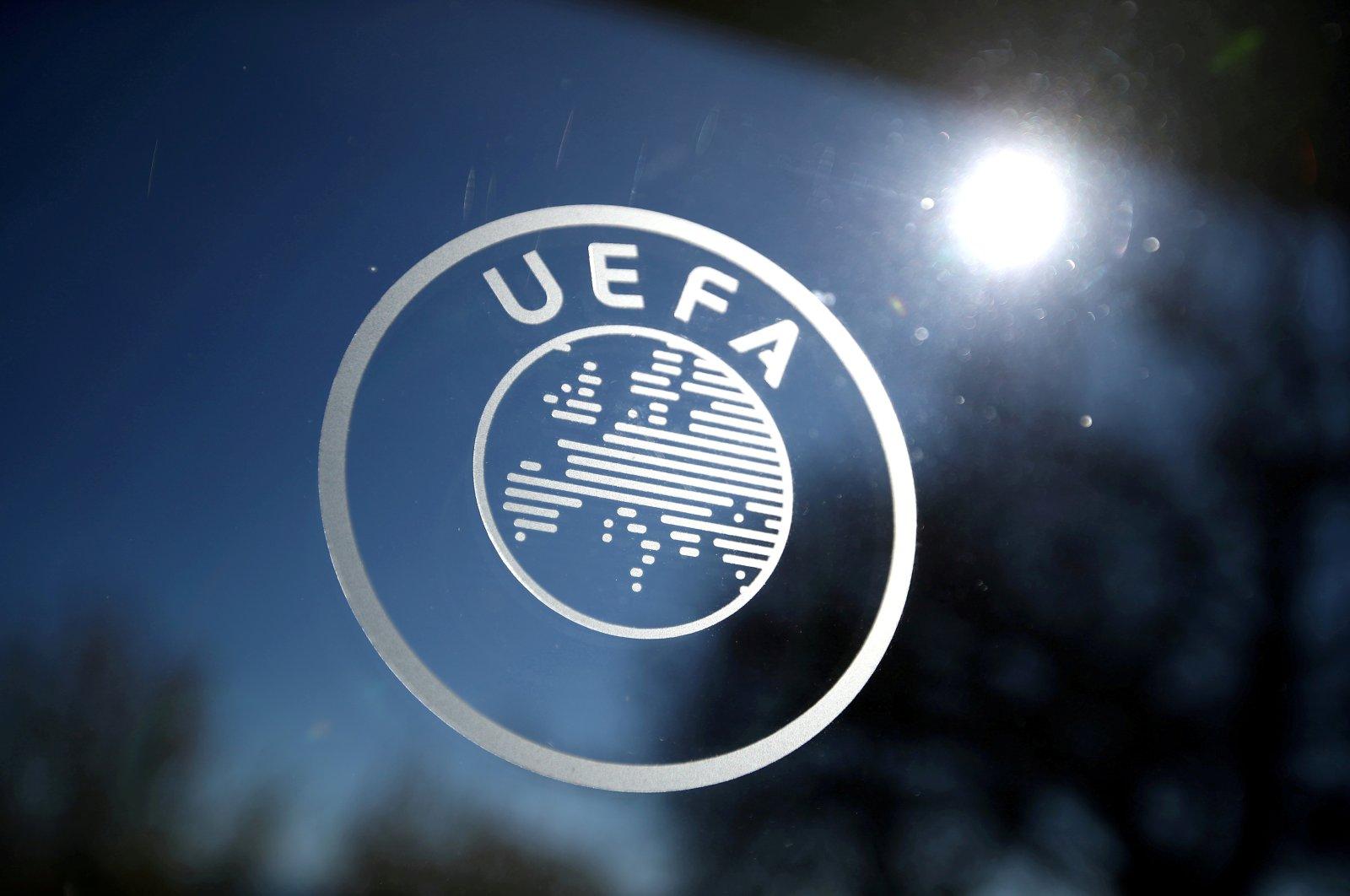 The UEFA logo displayed at the UEFA Headquarters in Nyon, Switzerland, Feb. 28, 2020. (Reuters Photo)