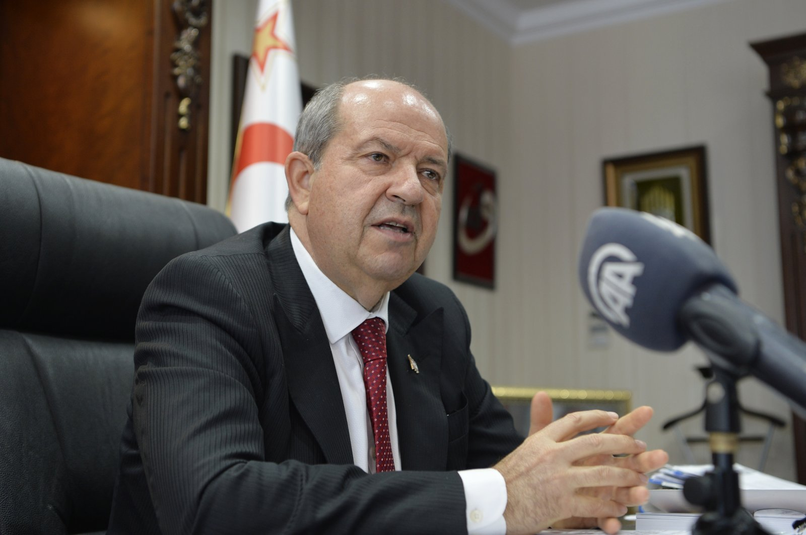ThePresident of theTurkish Republic of Northern Cyprus,Ersin Tatar, gives an interview to Anadolu Agency, April 25, 2021. (AA Photo)