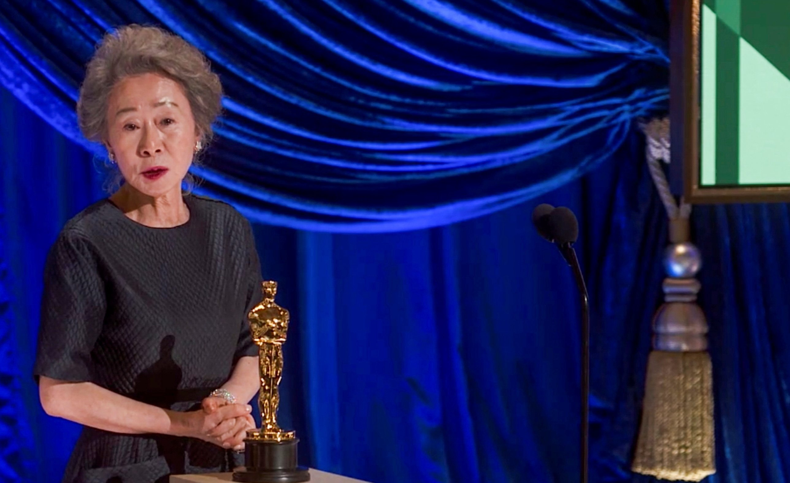 Yuh-Jung Youn accepts the Oscar for Actress in a Supporting Role during the live ABC Telecast of The 93rd Oscars in Los Angeles, California, U.S., April 25, 2021. (REUTERS Photo)