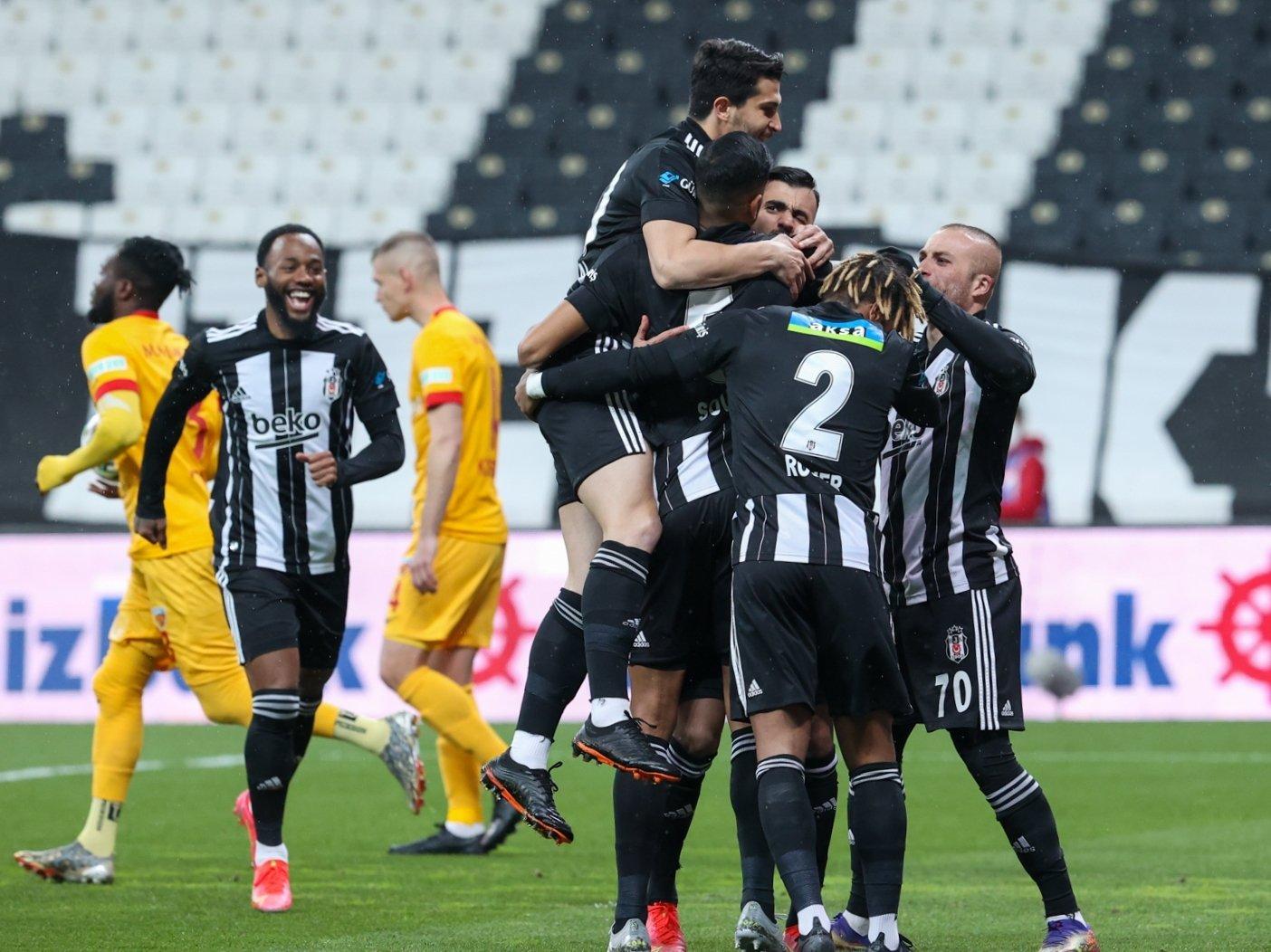 Beşiktaş players celebrate a goal during a Süper Lig match against Kayserispor at the Vodafone Park stadium in Istanbul, Turkey, April 24, 2021. (AA Photo)