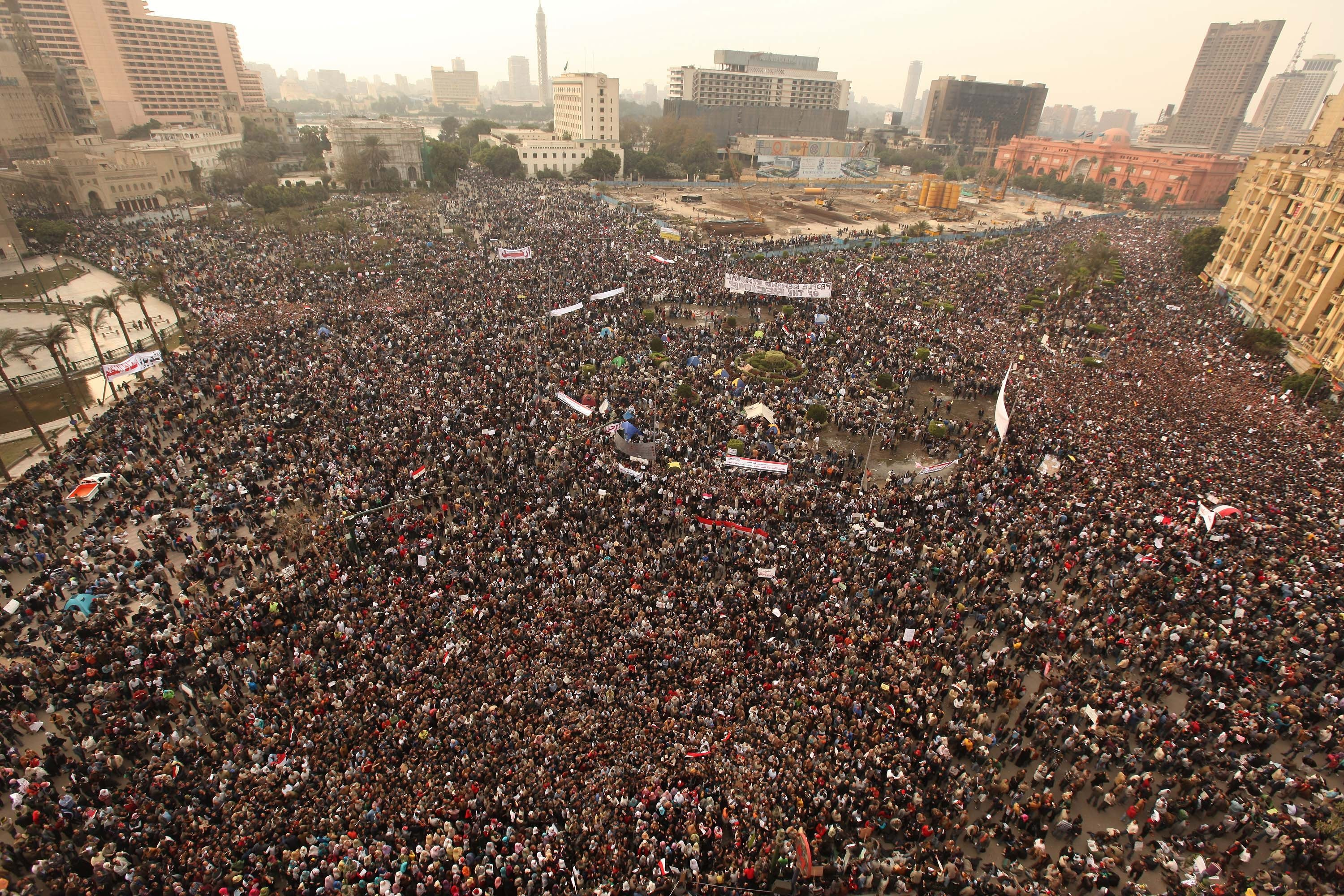Protestors gather in Tahrir Square as part of an Arab Spring wave demanding the ouster of then Egyptian President Hosni Mubarak, Cairo, Egypt, Feb. 1, 2011. (Photo by Getty Images)