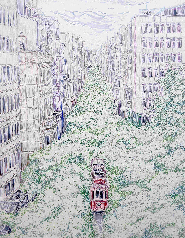 Seydi Murat Koç, 'The Day After Series 7,' oil on canvas, 2021, 90 by 70 centimeters. (Courtesy of Ferda Art Platform)