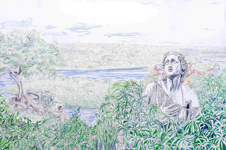 Seydi Murat Koç, 'The Day After Series 13,' oil on canvas, 2021, 120 by 180 centimeters. (Courtesy of Ferda Art Platform)