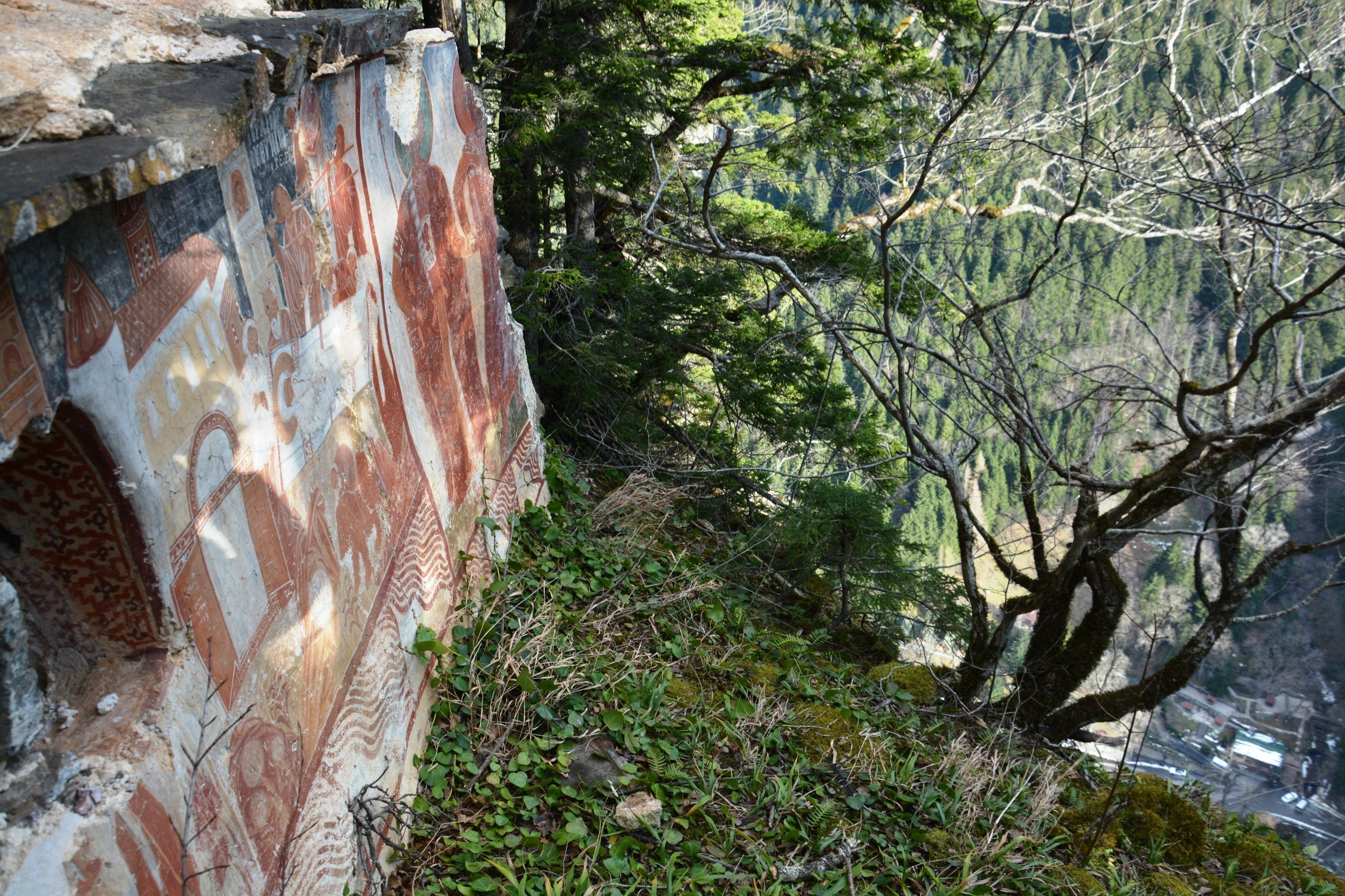A mural covers the walls of the newly discovered secret chapel of Sümela Monastery on the slope of a mountain, Trabzon, Turkey, April 26, 2021. (IHA Photo)