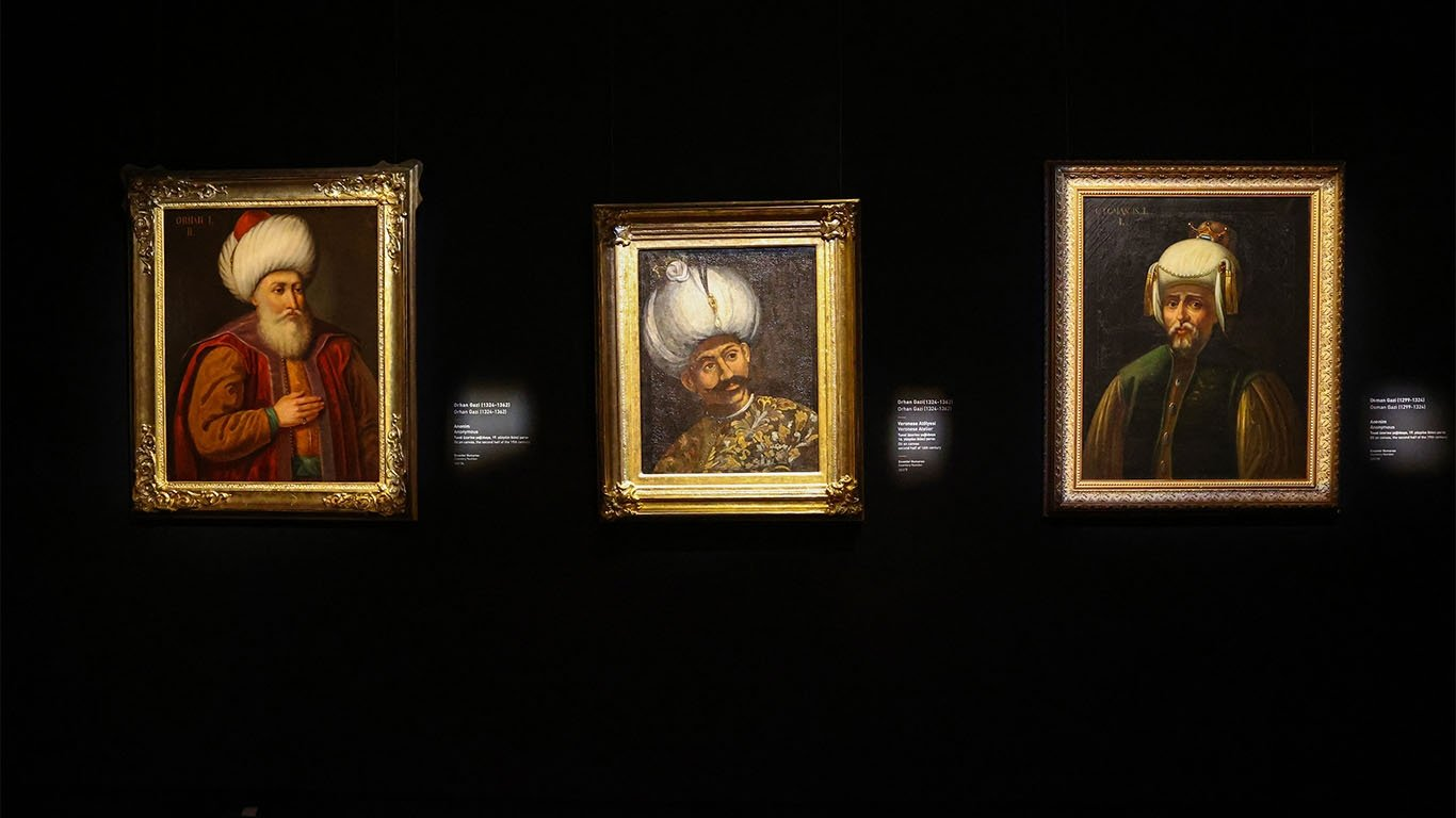 Some paintings on display at the National Palaces Painting Museum at Dolmabahçe Palace's Crown Prince Residence, Istanbul, Turkey, April 24, 2021. (AA Photo)