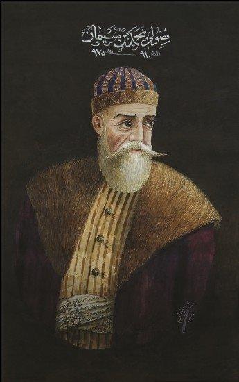 A portrait of Fuzuli by Azim Azimzade, on display at the National Art Museum of Azerbaijan.