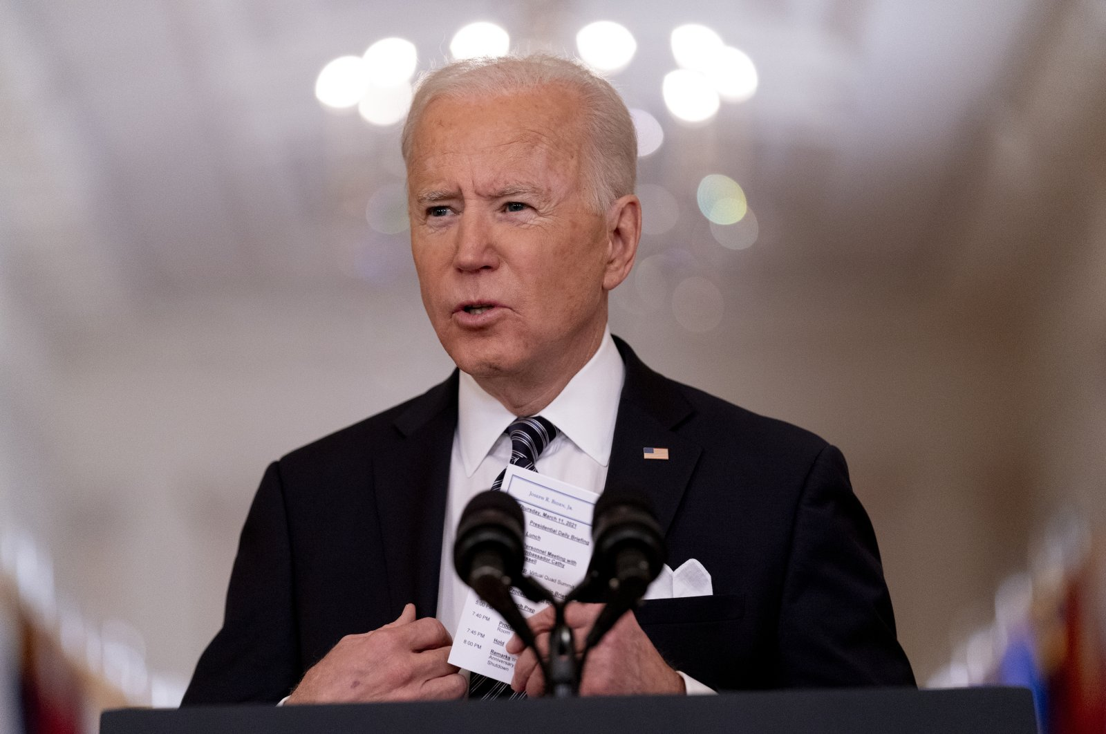 President Joe Biden holds speaks about the COVID-19 pandemic during a press-time address from the East Room of the White House in Washington, D.C., U.S., March 11, 2021. (AP Photo)