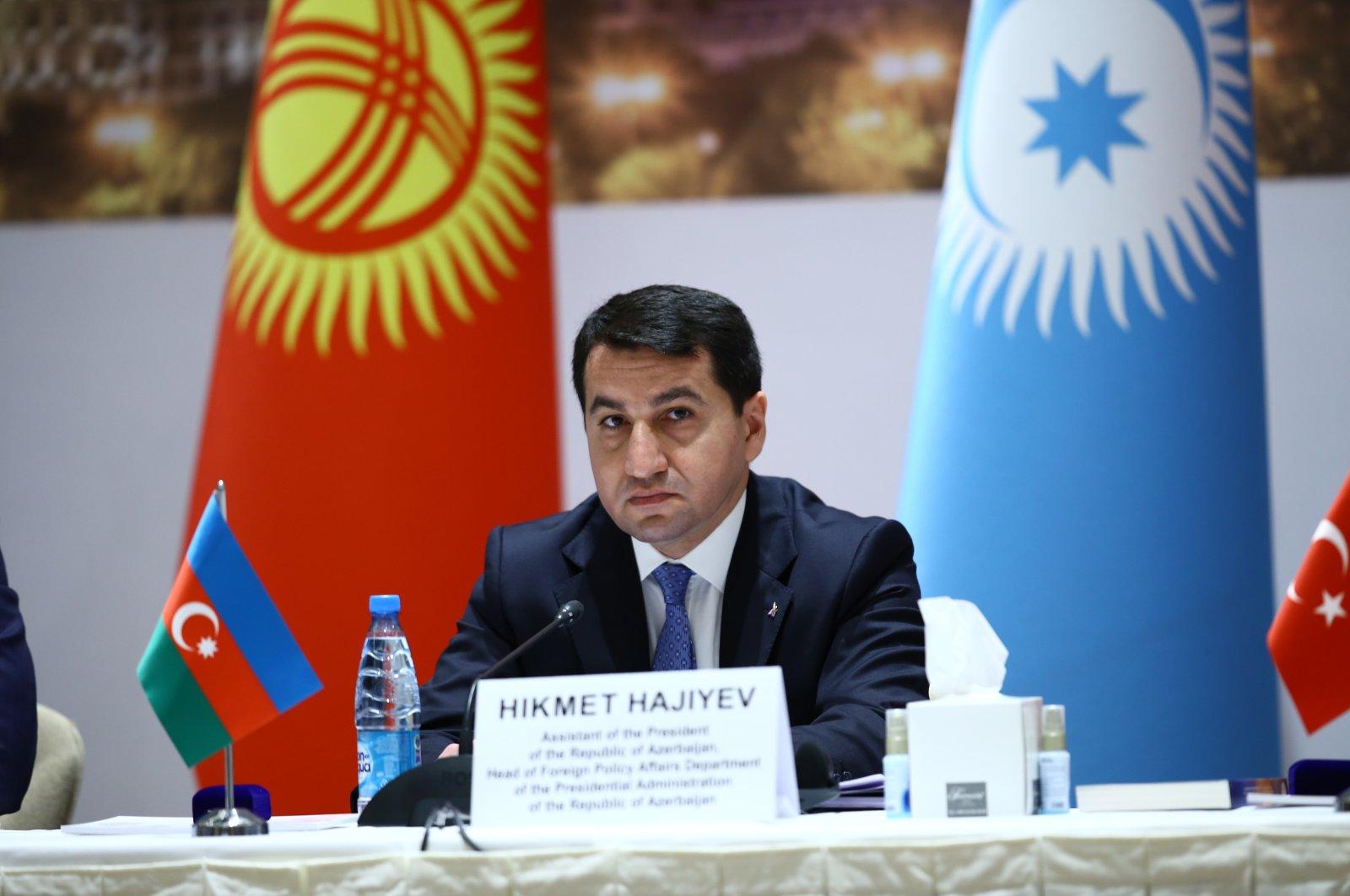 Azerbaijani presidential aide Hikmet Hajiyev speaking at the Turkic Council in the capital Baku, Azerbaijan, April 10, 2021. (AA Photo)