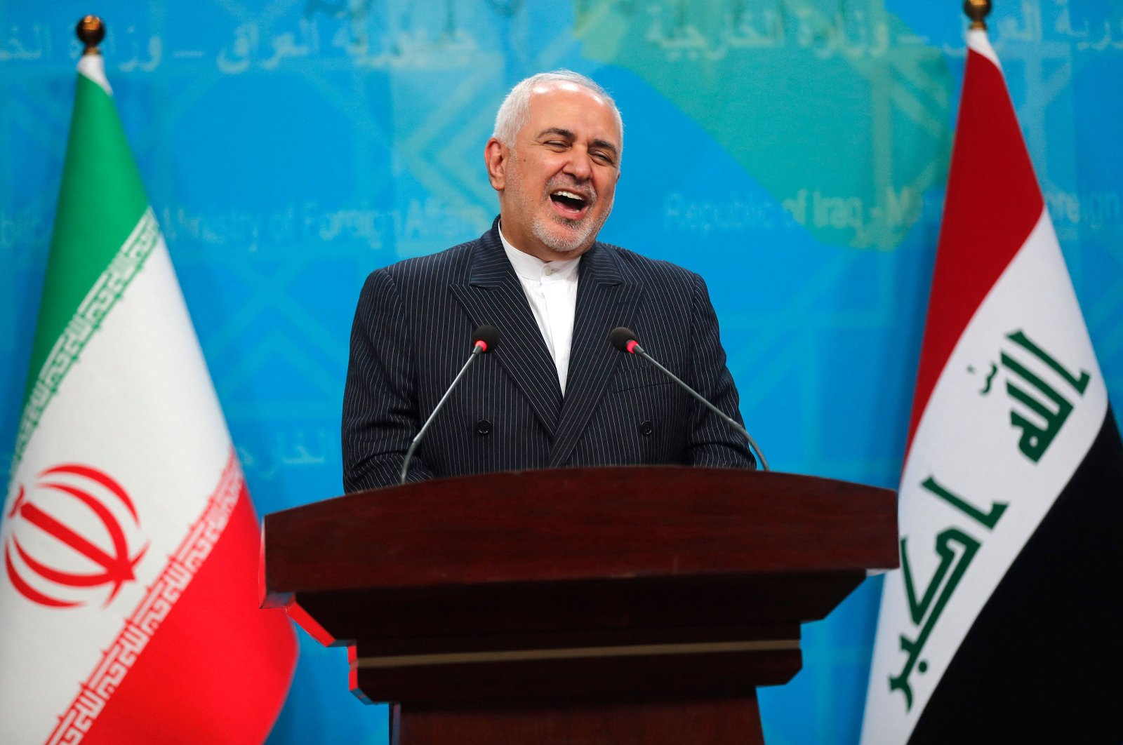 Iranian Foreign Minister Mohammad Javad Zarif speaks during a joint press conference with his Iraqi counterpart in Iraq's capital Baghdad, April 26, 2021. (AFP Photo)