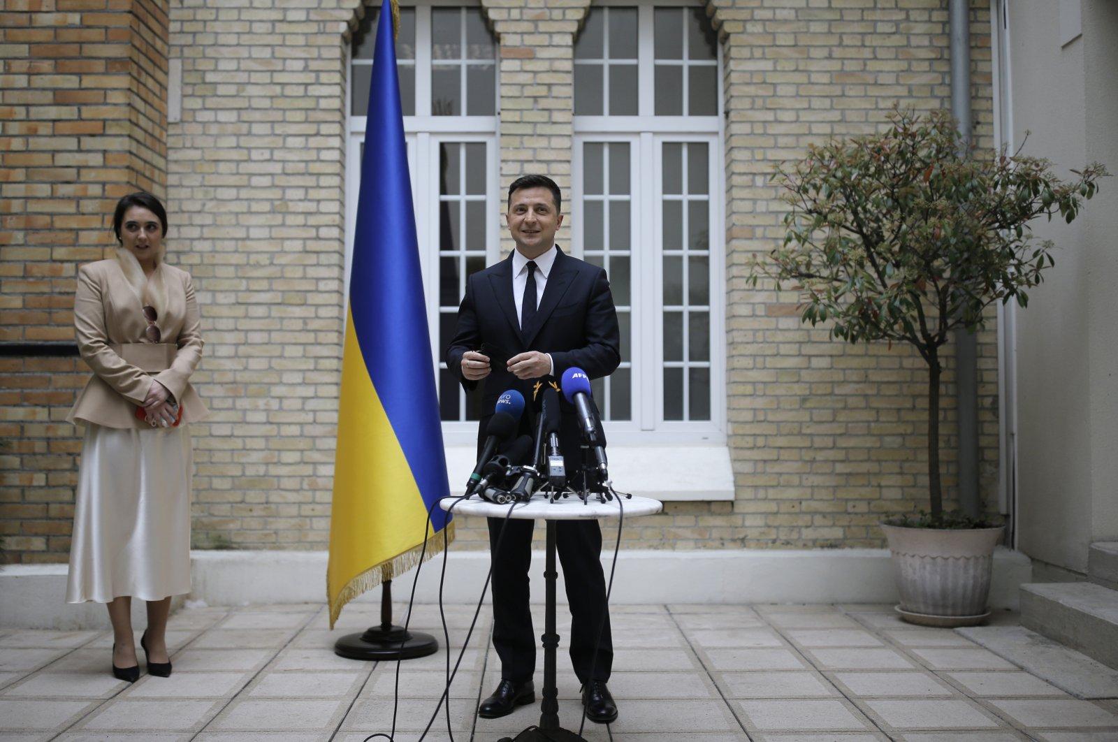 Ukrainian President Volodymyr Zelenskiy holds a press conference at the Ukrainian Embassy in Paris, France, April 16, 2021. (AP Photo)