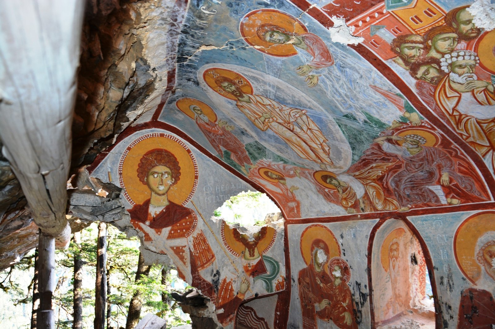 A mural covers the walls of the newly discovered secret chapel of Sümela Monastery, Trabzon, Turkey, April 26, 2021. (IHA Photo)