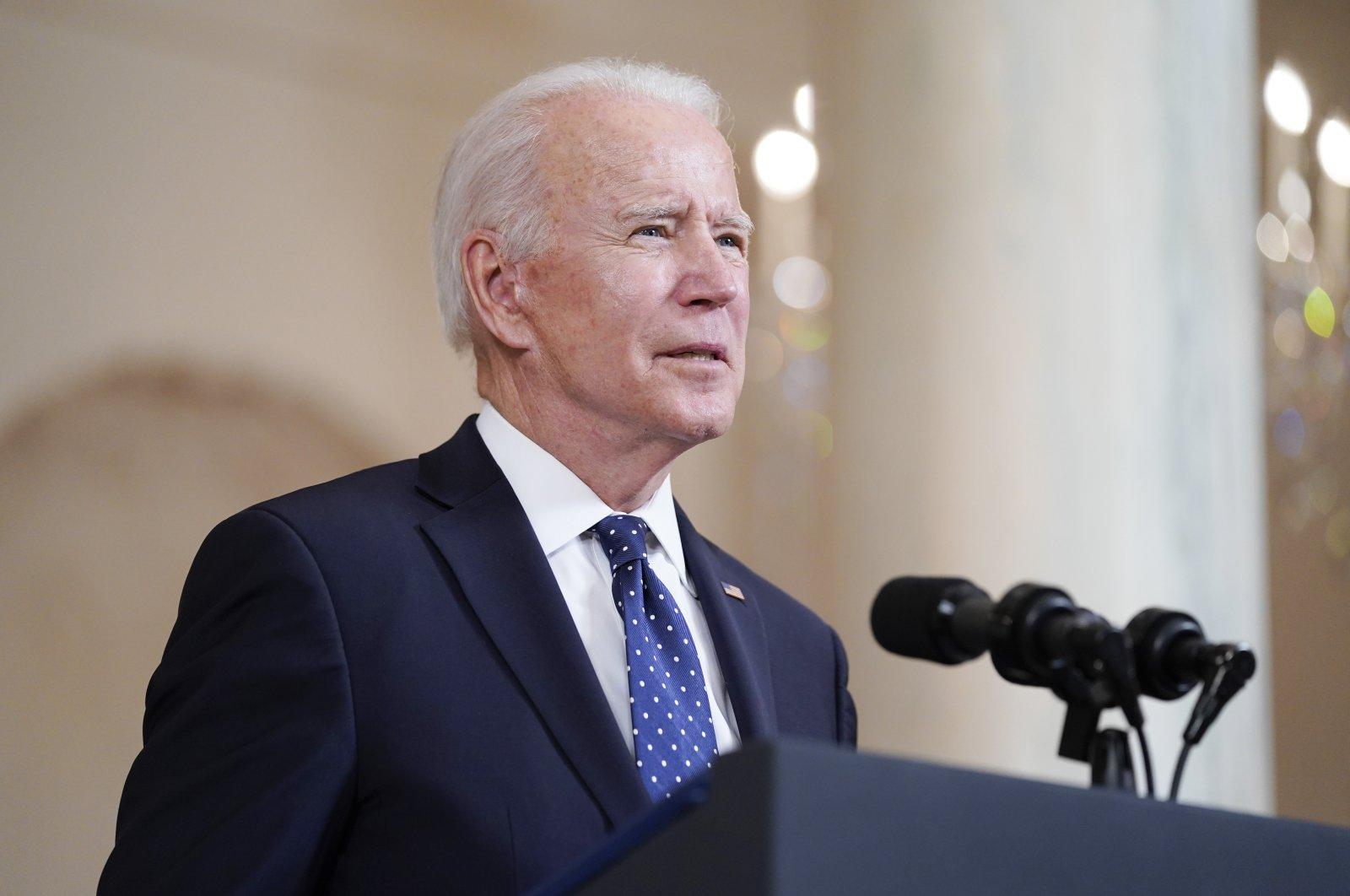 President Joe Biden speaks Tuesday, April 20, 2021, at the White House in Washington, D.C., U.S., April 20, 2021. (AP Photo)