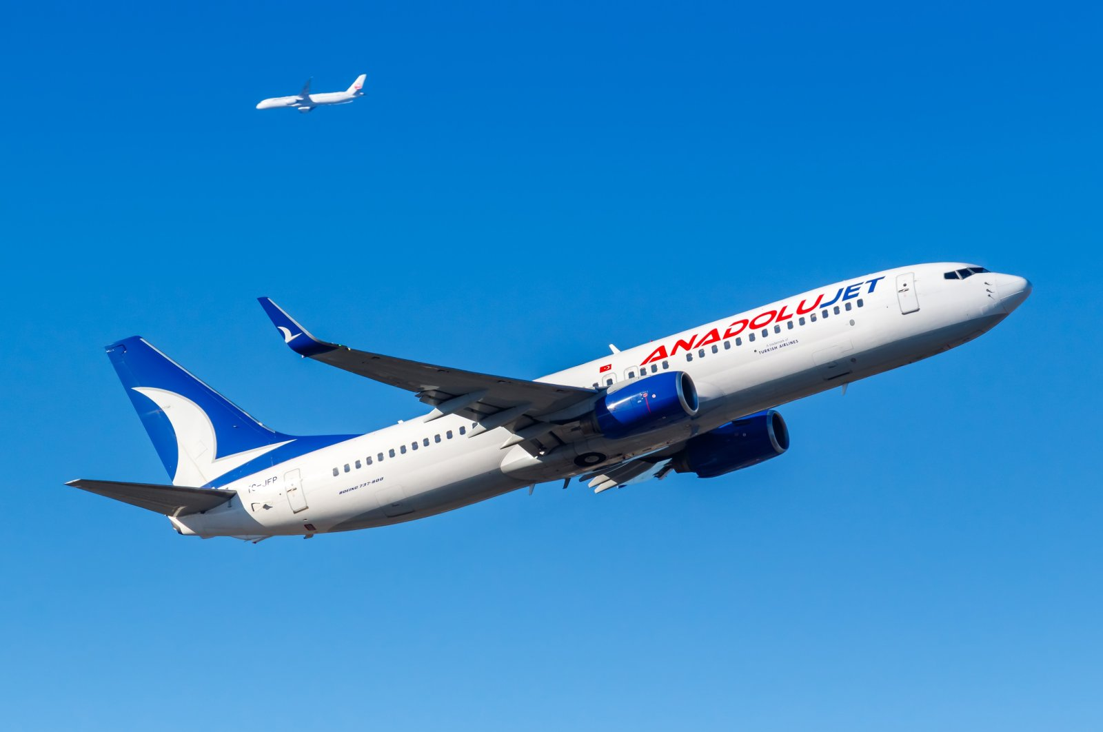 AnadoluJet Boeing 737-800 departsFrankfurt Airport, Germany, Feb. 13, 2021. (Shutterstock Photo)