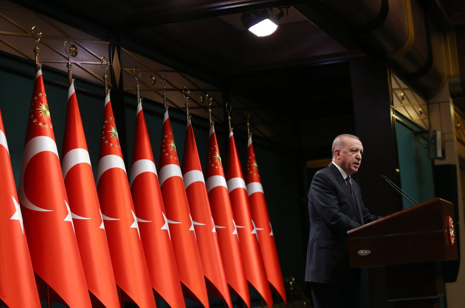 President Recep Tayyip Erdoğan speaks during a press conference in Ankara's Presidential Complex on Apr. 26, 2021 (AA Photo)