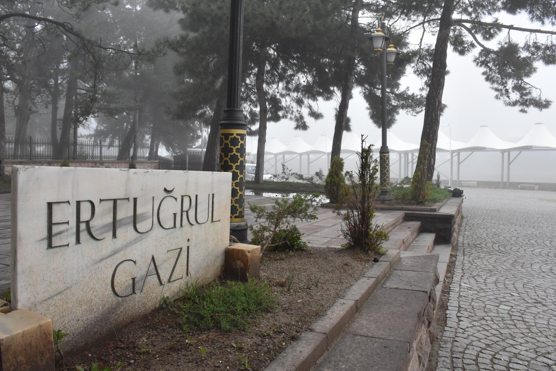 A gravestone is seen at the Ertuğrul Ghazi Tomb in Söğüt, Bilecik, Turkey, April 27, 2021. (AA Photo)