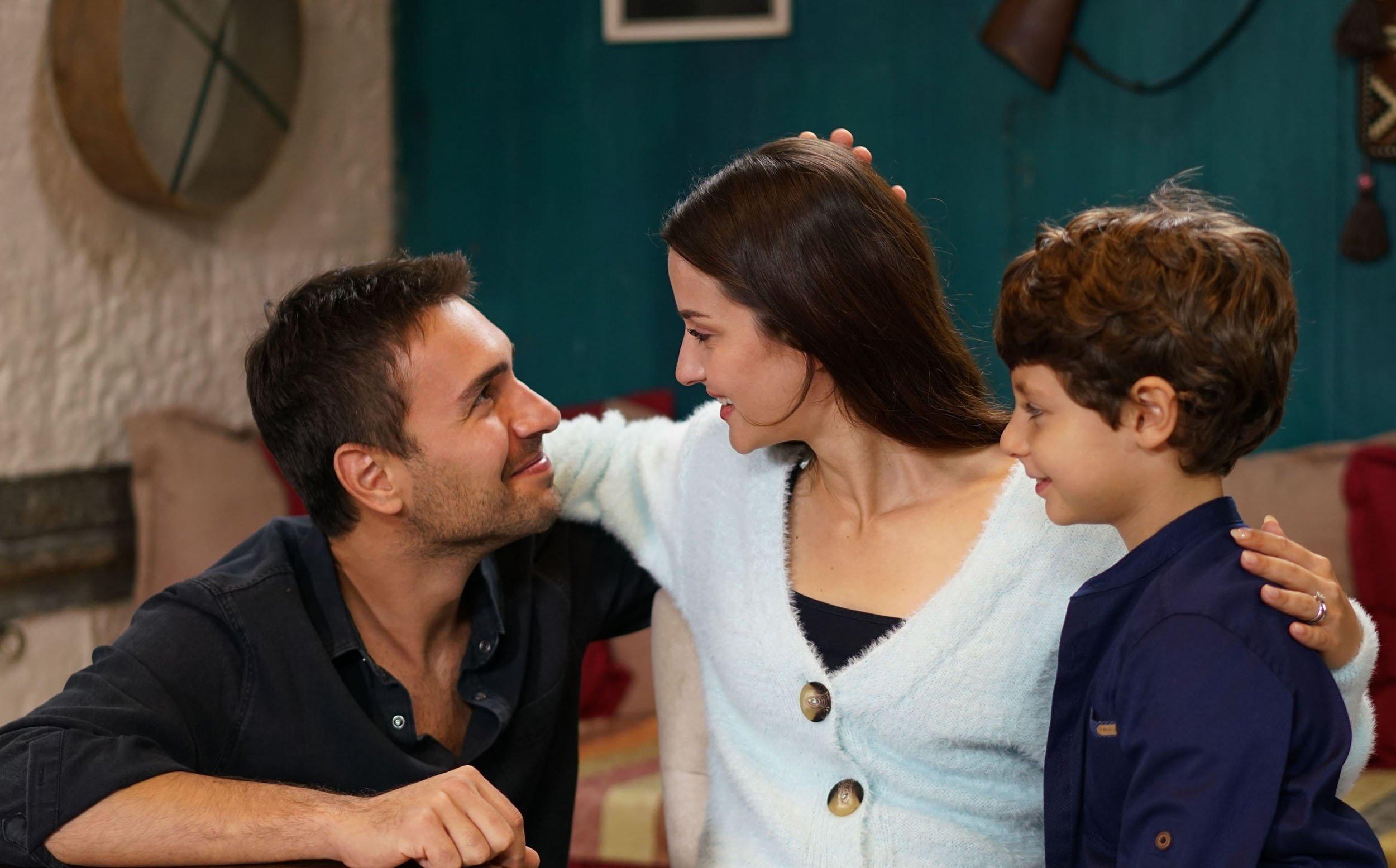 A still shot from 'Sen Anlat Karadeniz' shows actor Ulaş Tuna Astepe as Tahir (L), actress İrem Helvacıoğlu as Nefes (C) and Demir Birinci as Yiğit.
