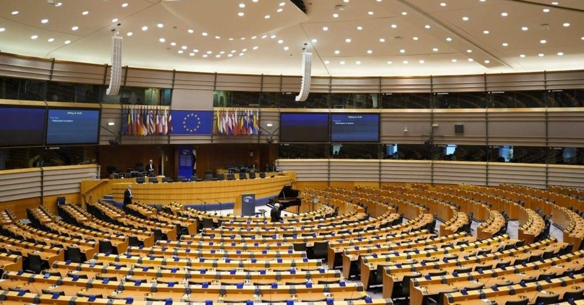 A picture taken on Jan. 29, 2020, shows the European Parliament room ahead of a plenary session in Brussels. (AFP Photo)