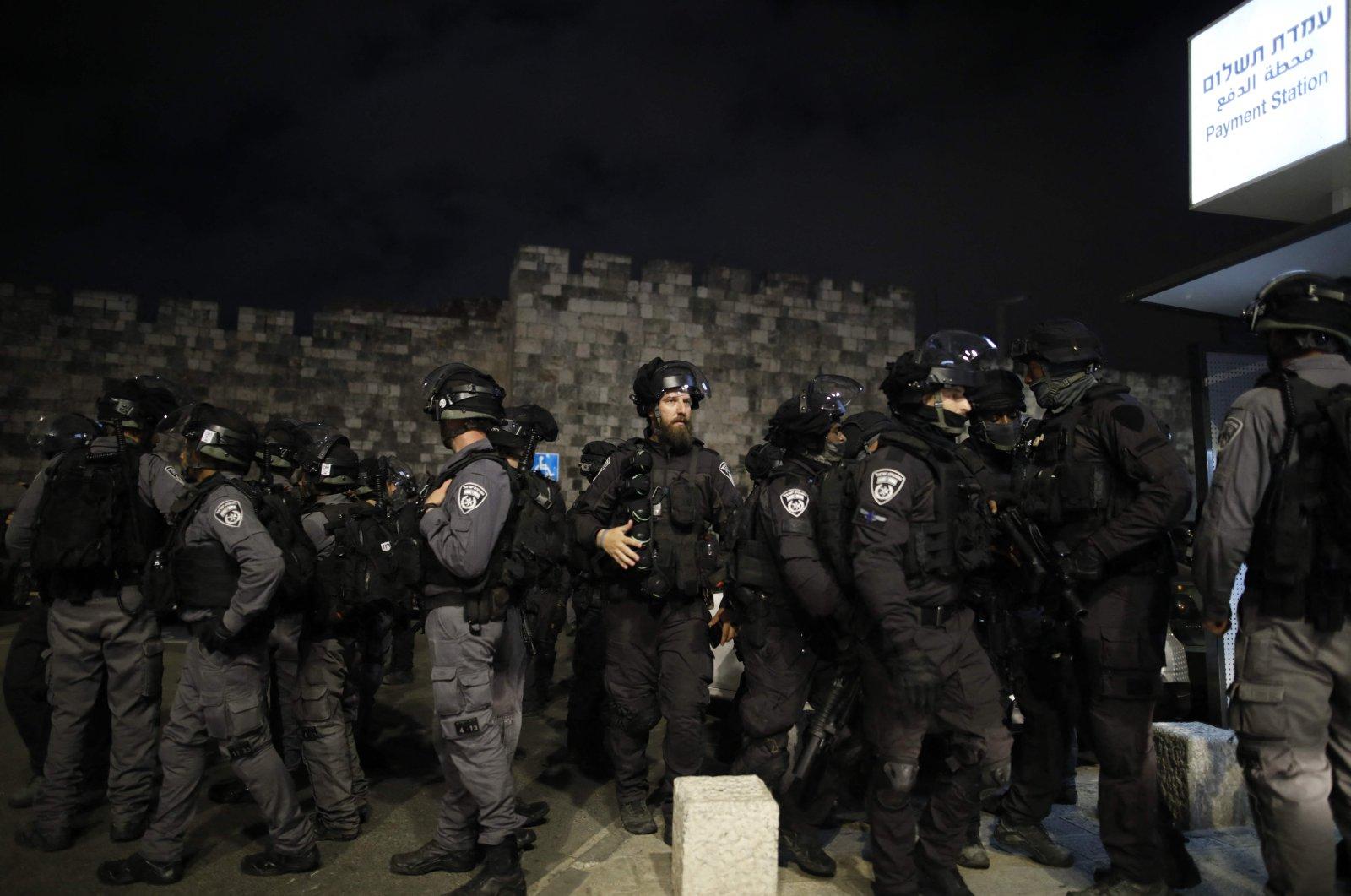 Israeli security forces gather outside Jerusalem's Old City, occupied-Palestine, April 26, 2021. (AFP Photo)