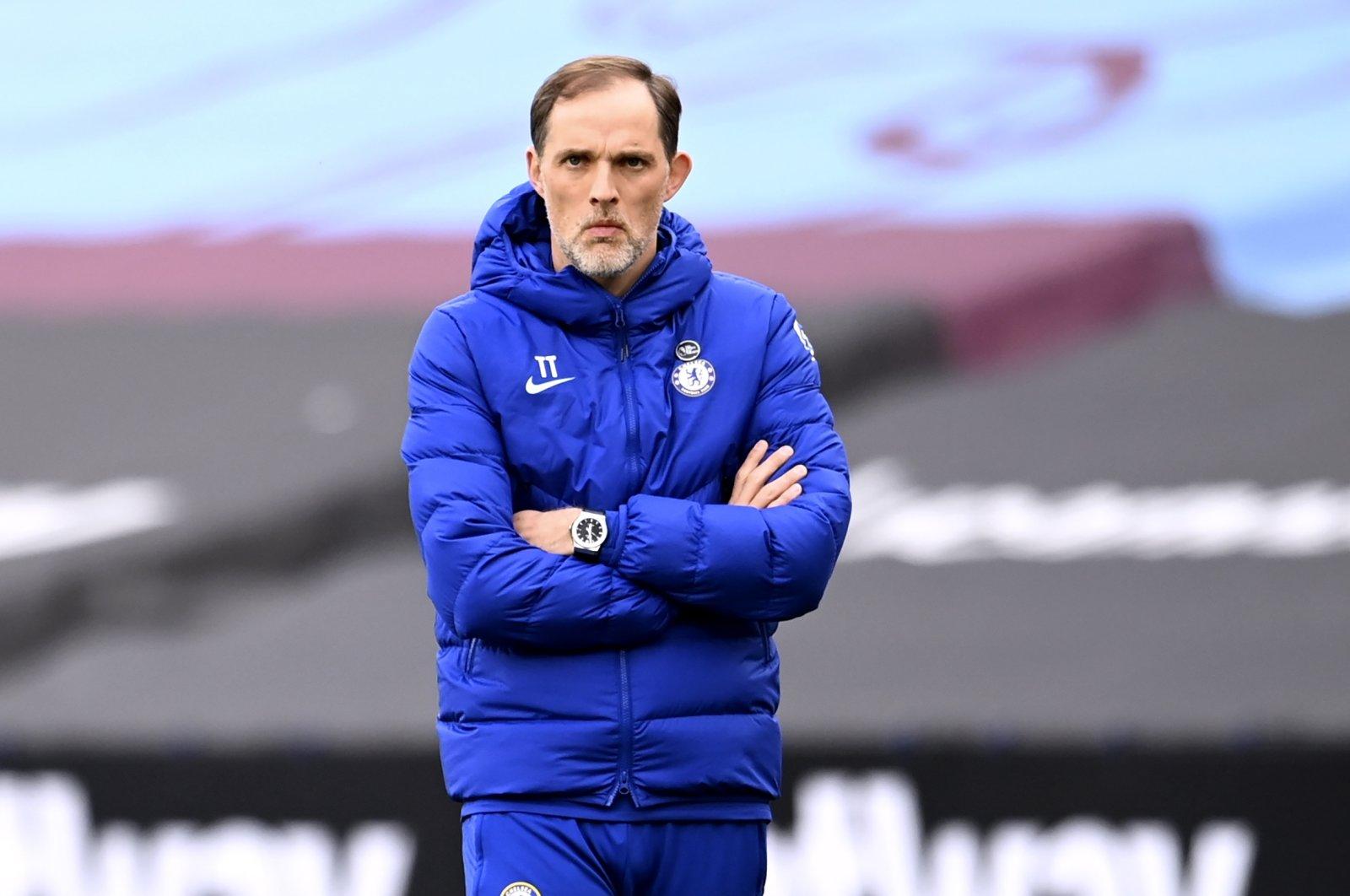 Chelsea coach Thomas Tuchel reacts during a Premier League match against West Ham United, in London, Britain, April 24, 2021. (EPA Photo)