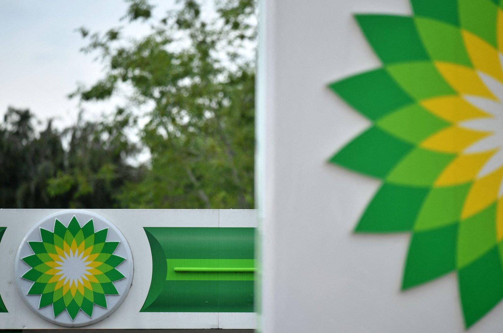 BP logos are seen at a BP petrol and diesel filling station in Hildenborough, south-east of London, U.K., June 15, 2020. (AFP Photo)
