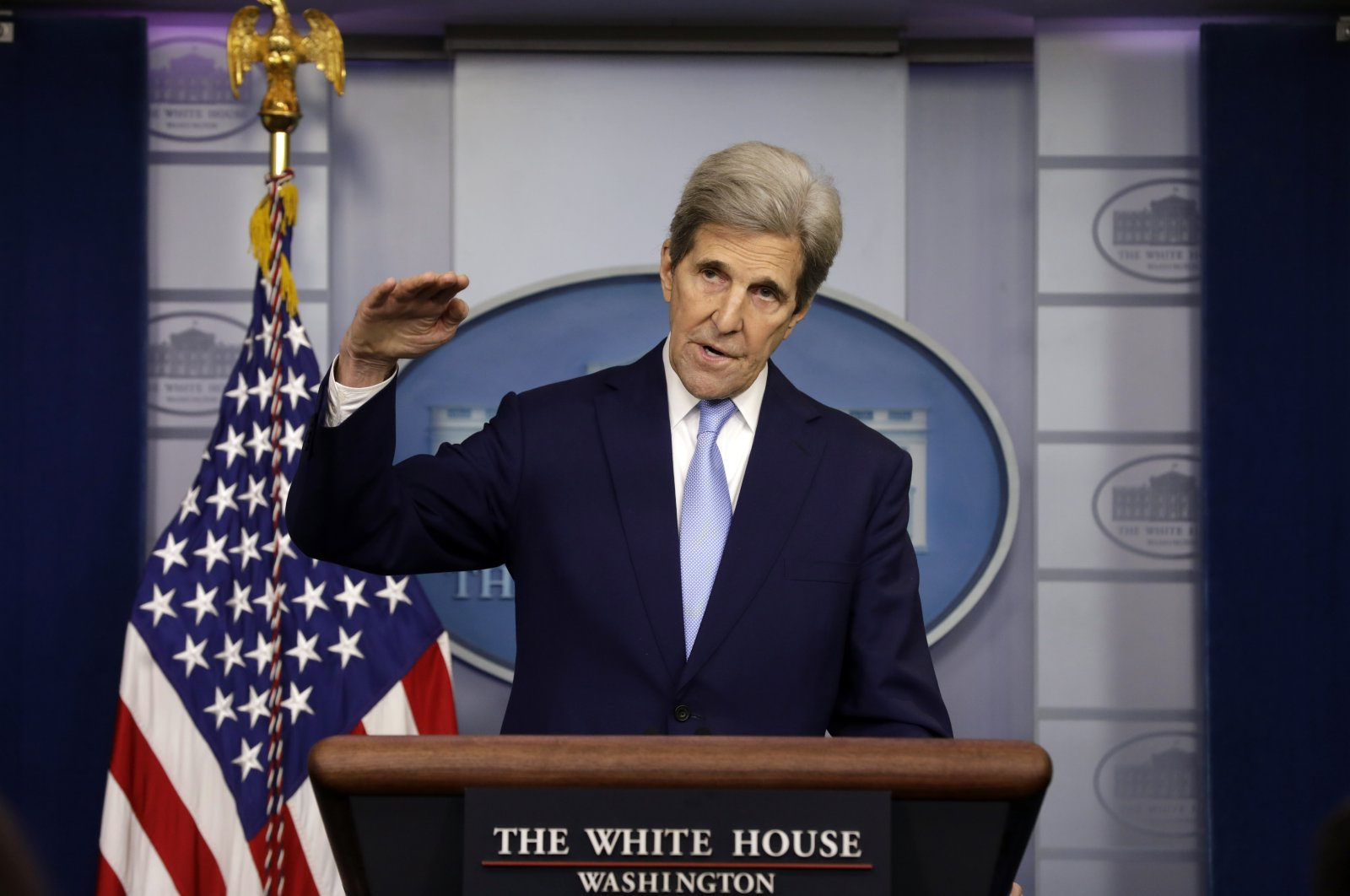 U.S. Special Presidential Envoy for Climate John Kerry speaks at a press briefing at the White House in Washington, DC, U.S., April 22, 2021. (EPA Photo)