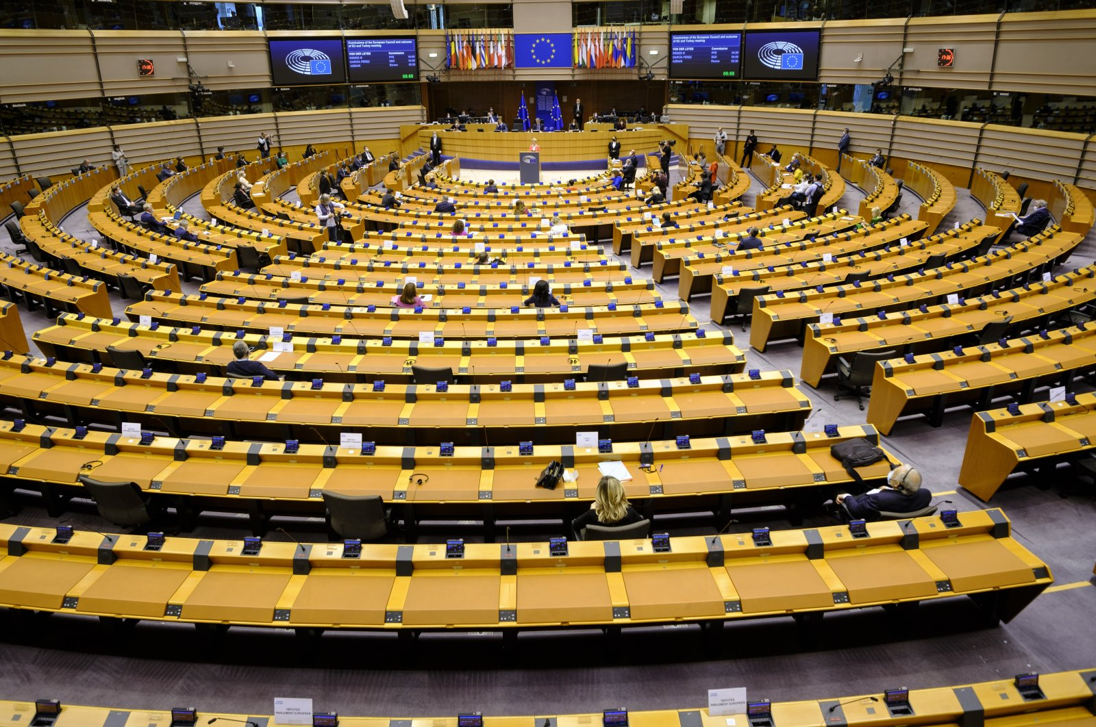 Lawmakers during a session of the European Parliament in Brussels, Belgium, April 26, 2021. (Photo by Getty Images)