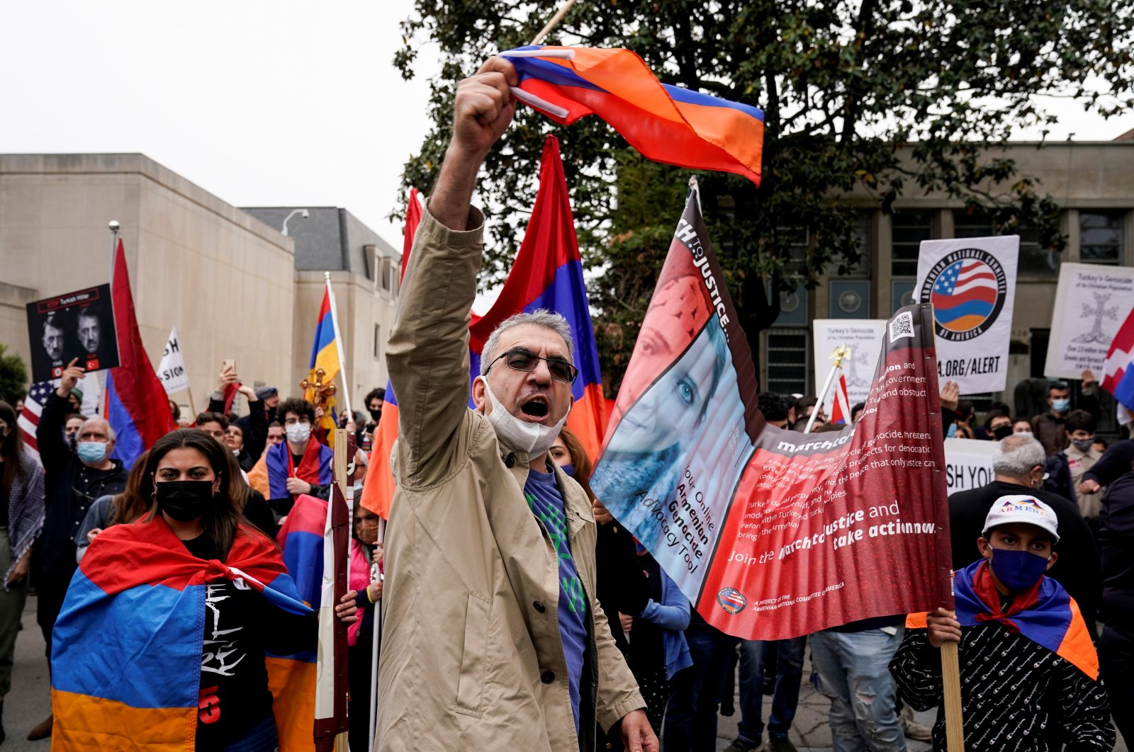 Members of the Armenian diaspora rally in front of the Turkish Embassy after U.S. President Joe Biden recognized that the 1915 massacres of Armenians in the Ottoman Empire constituted genocide in Washington, D.C., U.S., April 24, 2021. (Reuters Photo)