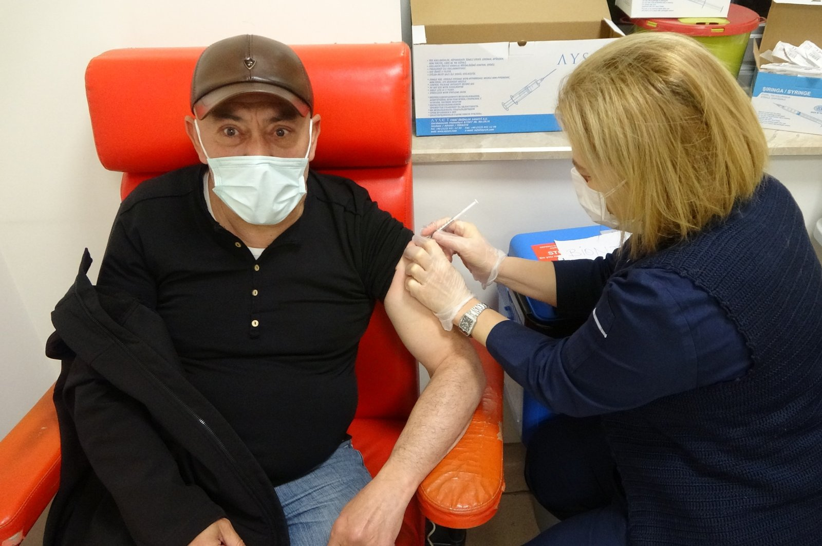 A man is vaccinated at a hospital in Çorum, central Turkey, April 26, 2021. (İHA PHOTO)