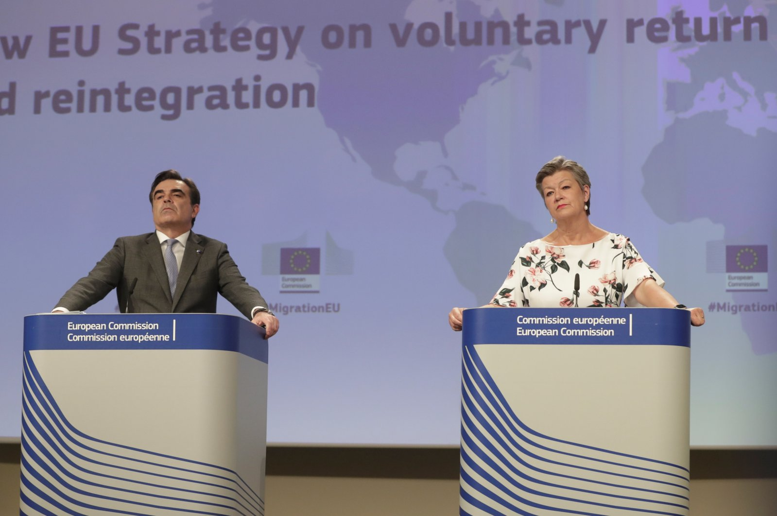 European Commission Vice-President for Promoting the European Way of Life, Margaritis Schinas (L), and European Commissioner for Home Affairs, Ylva Johansson attend a press conference in Brussels, Belgium, April 27, 2021. (Reuters Photo)