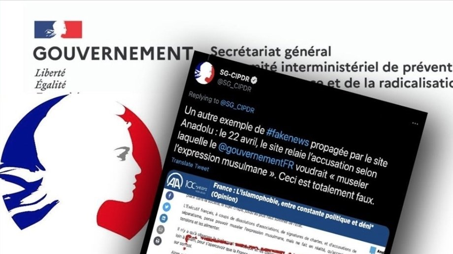 """France's Interministerial Committee for the Prevention of Crime and Radicalization (CIPDR) claims that AA is a """"propaganda body"""" and """"attacking France in a deceptive and slanderous manner"""" in its opinion pieces, targeting the agency for covering Islamophobia, April 27, 2021. (AA)"""