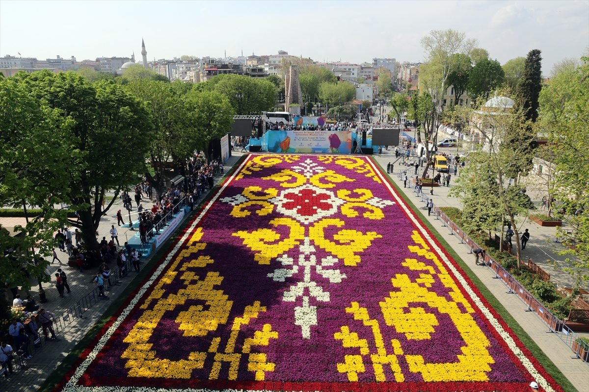 The world's biggest tulip carpet is rolled out in Sultanahmet Square in Istanbul as part of the tulip festival. (AA Photo)