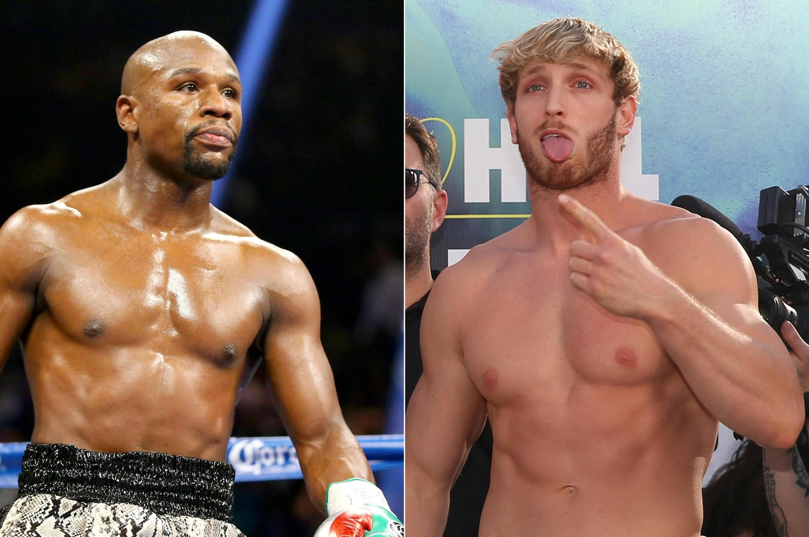 This combination of pictures created on April 27, 2021 shows Floyd Mayweather Jr. (L) during a  welterweight title fight in Las Vegas, U.S., on Sept. 13, 2014 and Logan Paul (R) reacting before an exhibition bout in Los Angeles, U.S., Nov. 8, 2019. (Getty Images via AFP Photo)