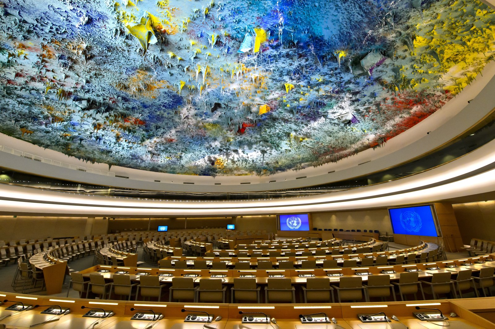 An undated photo of the ceiling of the Human Rights and Alliance of Civilizations Room of the United Nations Office in Geneva, Switzerland. (Getty Images)