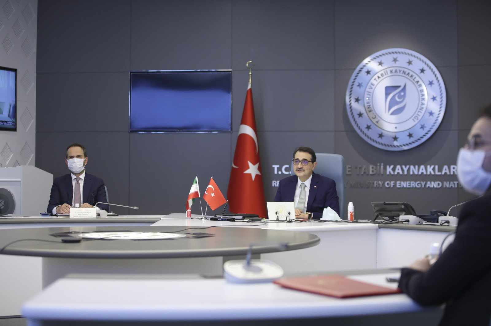 Energy and Natural Resources Minister Fatih Dönmez adresses the virtual Turkey-Iran Joint Economic Commission meeting, Ankara, Turkey, April 28, 2021. (AA Photo)