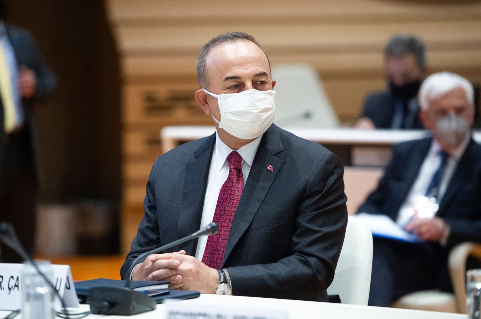 Turkey's Foreign Minister Mevlüt Çavuşoğlu is pictured at the opening of a 5 1 Meeting on Cyprus at the United Nations Office in Geneva, Switzerland, April 28, 2021. (AFP Photo)