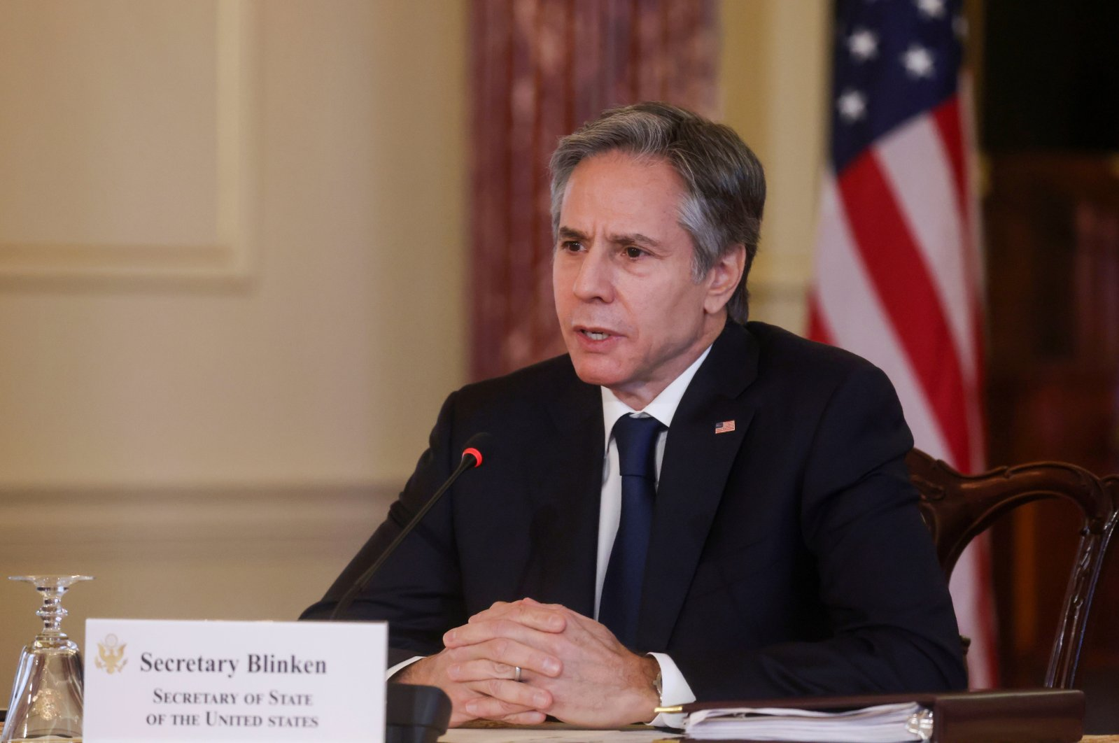 U.S. Secretary of State Antony Blinken participates in a virtual bilateral meeting with Kenya's President Uhuru Kenyatta during a videoconference at the State Department in Washington, D.C., the U.S., April 27, 2021. (Reuters Photo)